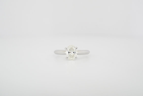 14k .97ct Oval Diamond Solitaire Ring