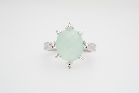 14k Mint Chalcedony & Diamond Ring