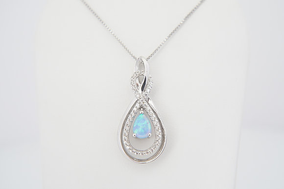 Sterling Silver & Created Opal Figure-Eight Necklace