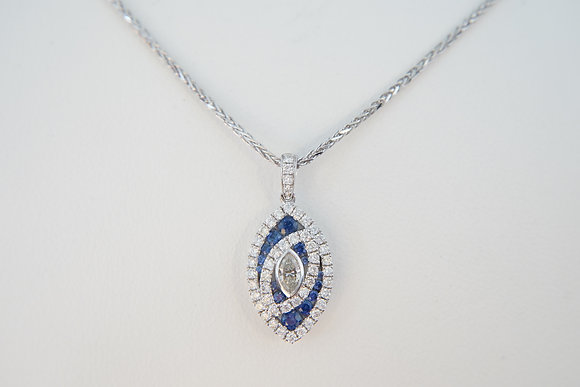 14k Diamond & Sapphire Marquise Necklace
