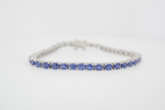 Sterling Silver 10CTW Blue Sapphire Bracelet