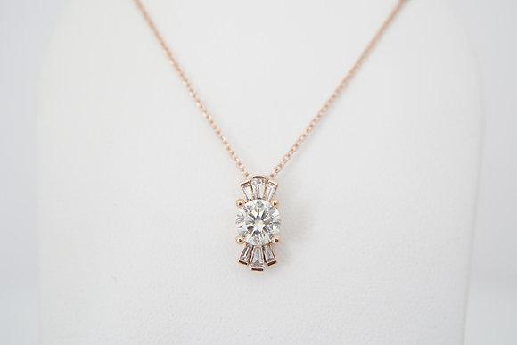 14k 9/10ctw Round & Baguette Diamond Necklace
