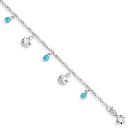 "Sterling Silver 9-""10"" Turquoise & Seashell Anklet"