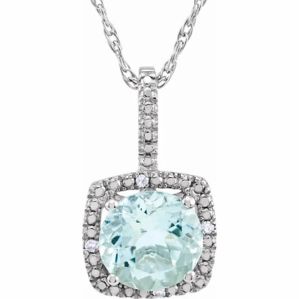 Sterling Silver Aquamarine Halo-Style Necklace