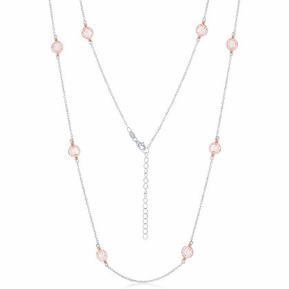 Sterling Silver & Rose Mesh CZ Necklace