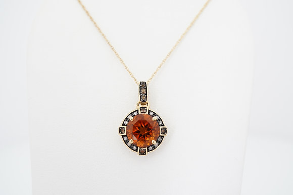 10k Mandarin Citrine, Smokey Quartz & Diamond Necklace