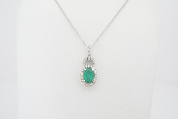 14k Emerald & Diamond Oval Halo Necklace