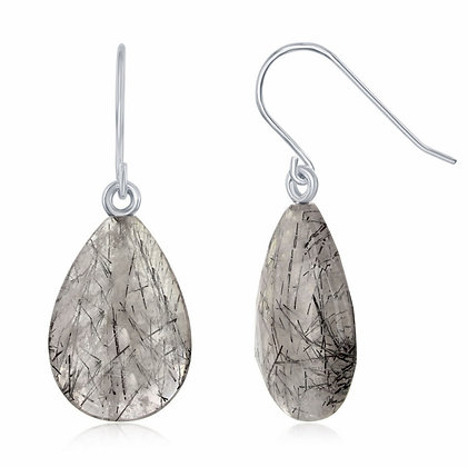 Sterling Silver Tourmalinated Quartz Earrings
