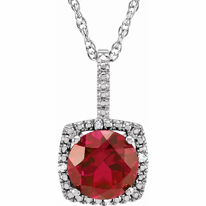 Sterling Silver Created Ruby Halo-Style Necklace