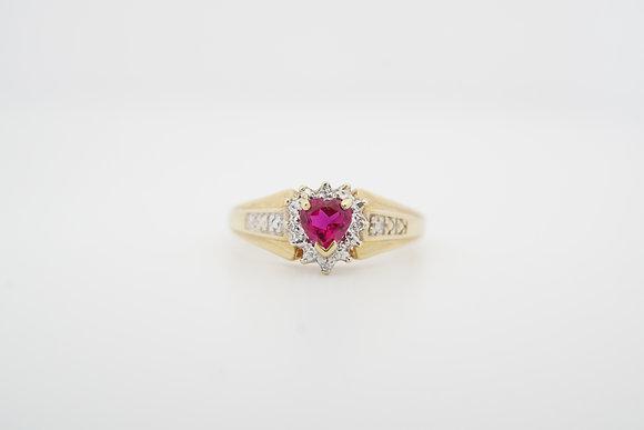 10k Created Ruby & Diamond Heart Ring
