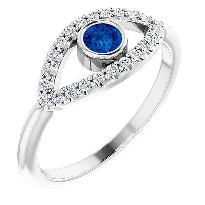 14k Blue & White Sapphire Evil Eye Ring