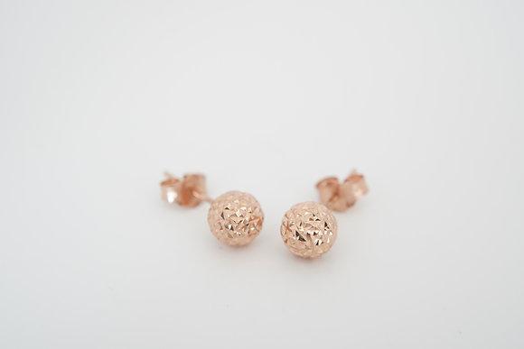 14k Rose Diamond-Cut Ball Earrings