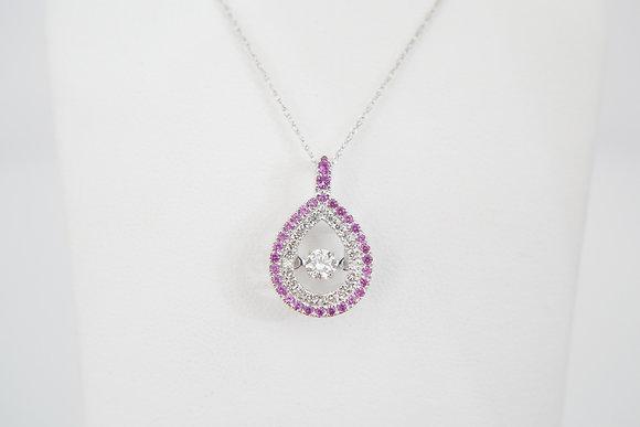 14k 1/2ctw Dancing Diamond & Sapphire Necklace