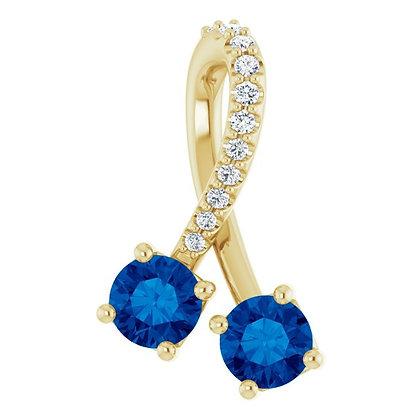 14k Sapphire & Diamond Twist Necklace