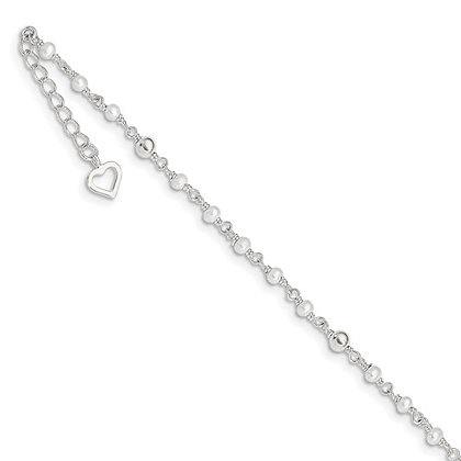 """Sterling Silver 9-10"""" Pearl Bead Anklet"""