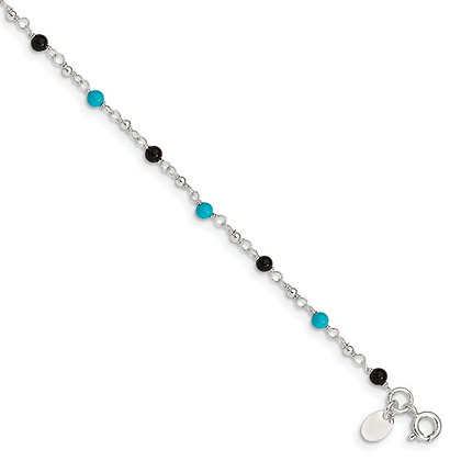 "Sterling Silver 10"" Turquoise & Onyx Anklet"