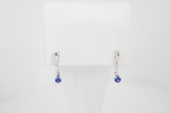 14k Hand-Forged Blue Sapphire Twist Earrings