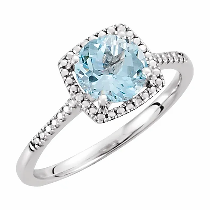 Sterling Silver Blue Topaz Halo-Style Ring