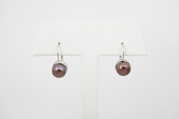 14k Brown Freshwater Pearl Leverback Earrings