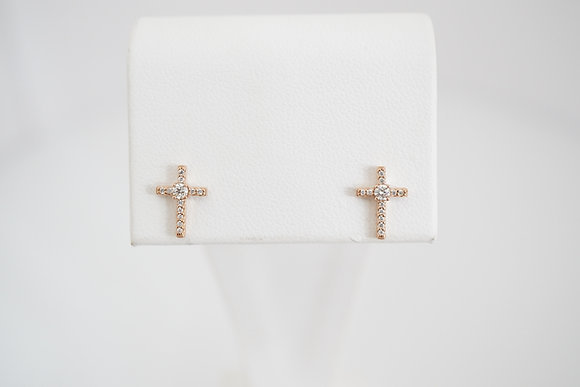 14k 1/8ctw Diamond Cross Earrings