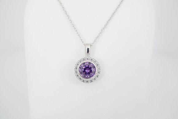 Sterling Silver Purple CZ Halo Necklace