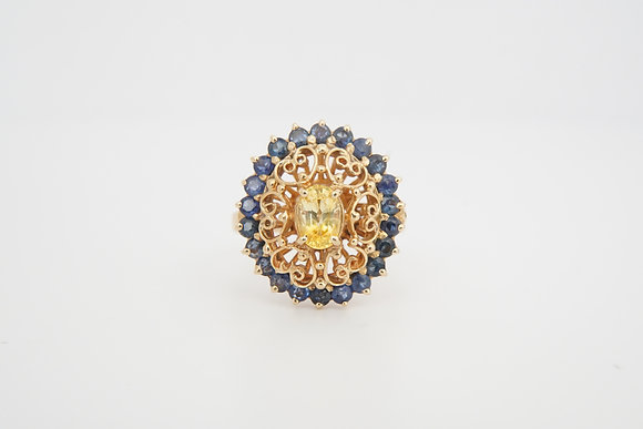 14k Floral Sapphire Ring