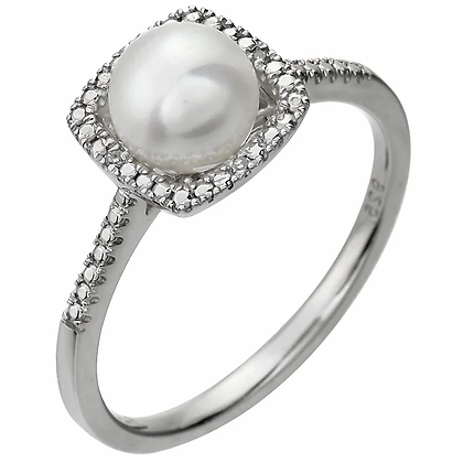 Sterling Silver Pearl Halo-Style Ring