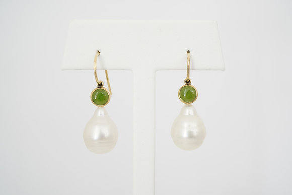 14k Jade and South Sea Pearl Earrings