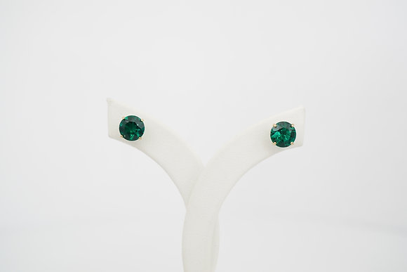 14k Round Created Emerald Stud Earrings