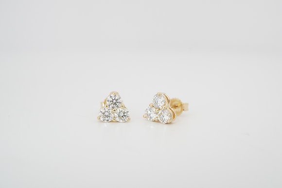 14k 0.90ctw Diamond Trio Cluster Earrings