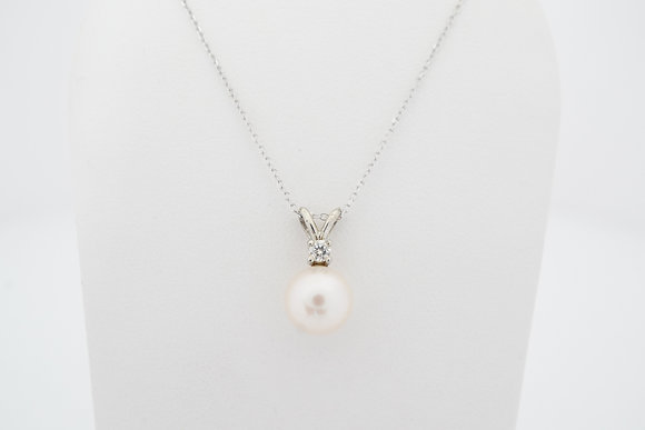 14k Freshwater Pearl & Diamond Necklace