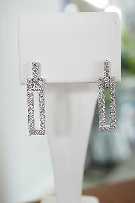 Sterling Silver Rectangle Drop Earrings