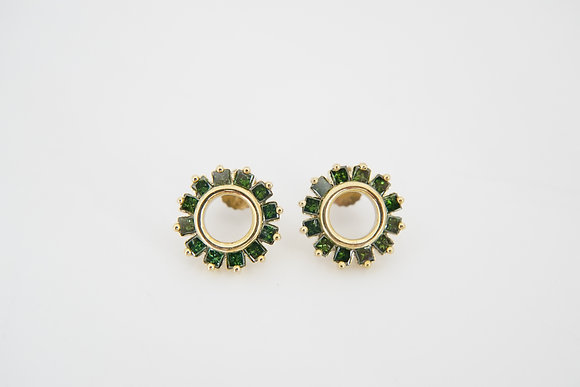 10k 1.5CTW Green Diamond Circle Earrings