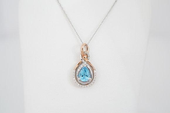 10k Blue Topaz & Diamond Figure-Eight Necklace