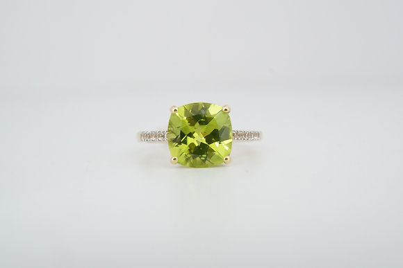 14k Peridot & Created Sapphire Ring