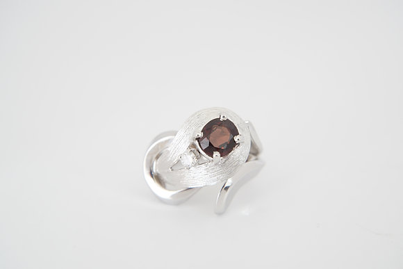 14k Red Spinel & Diamond Freeform Ring