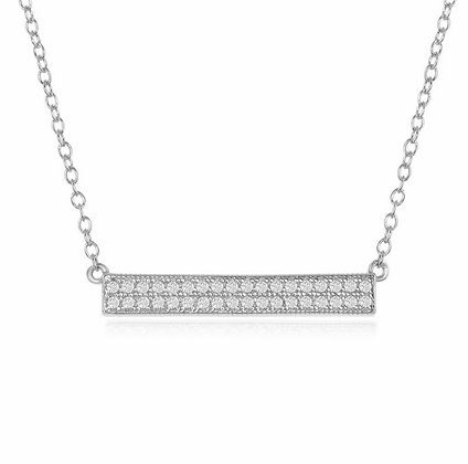 Sterling Silver CZ Double Row Bar Necklace