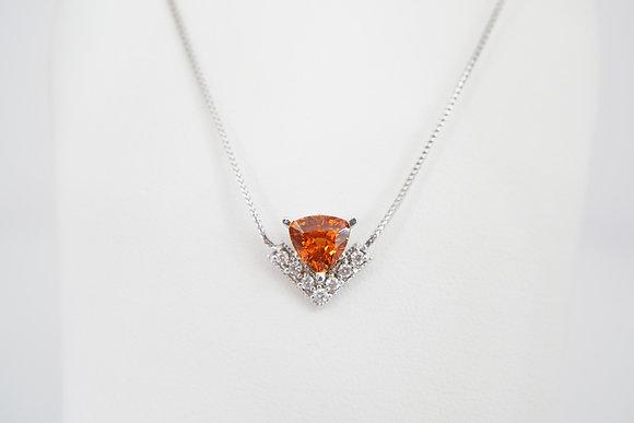 """14k """"V"""" Spessartite & Diamond Necklace"""