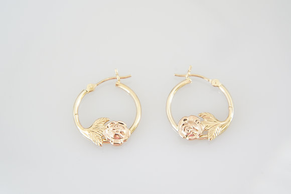 14k Hoops with Roses