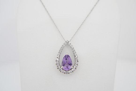 10k Teardrop Amethyst & Sapphire Necklace