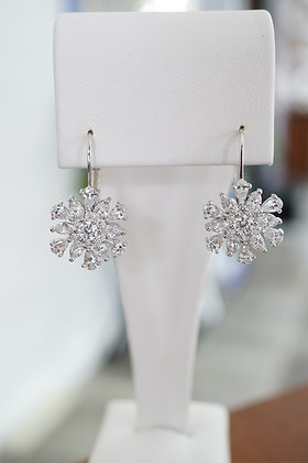 Sterling Silver Floral Cluster Earrings