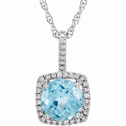 Sterling Silver Blue Topaz Halo-Style Necklace