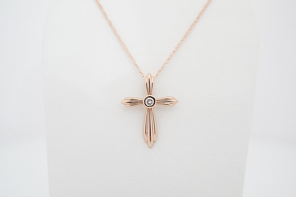 14k .06ct Ribbed Cross Necklace