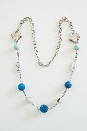 Fashion Necklace with Agate, Howlite, Jade, & Quartz