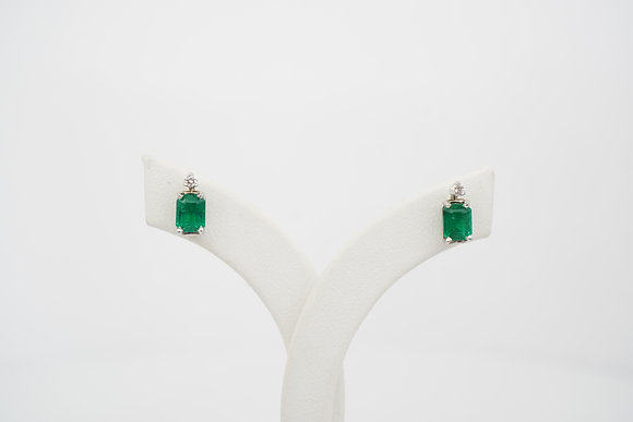 14k Emerald & Diamond Stud Earrings