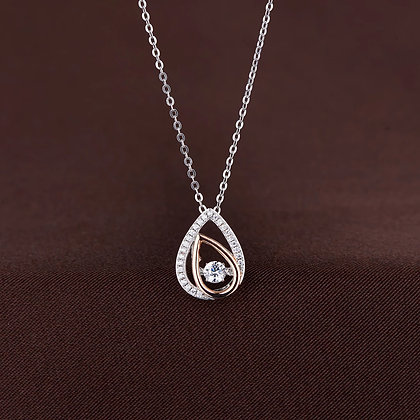 Twinkles Rose & White Teardrop Necklace