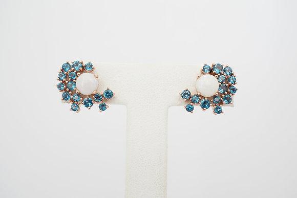 """10k """"Constellation"""" Opal & Blue Topaz Earrings"""