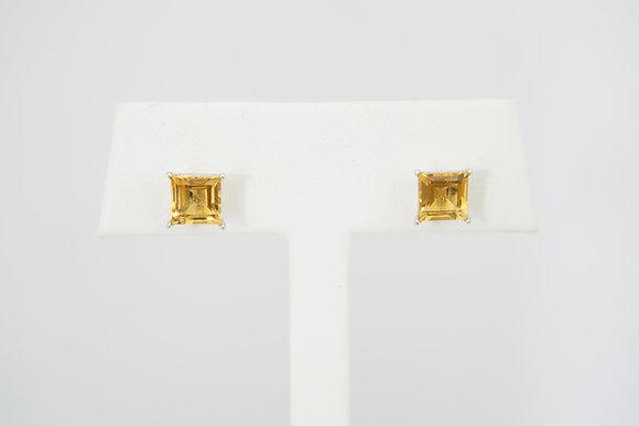 10k Square Citrine Stud Earrings