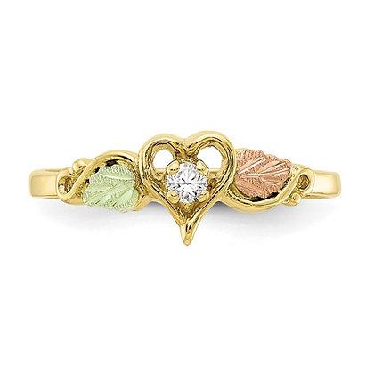 10k Black Hills Gold Diamond Heart Ring