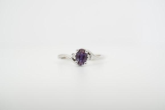 10k Created Alexandrite and Diamond Ring
